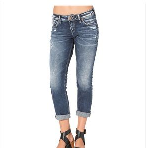 Silver Capri Boyfriend Jeans